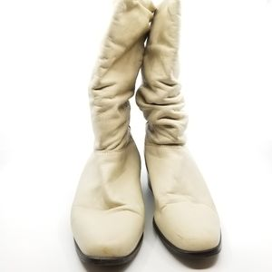 Hunt Club Cream Leather Slouch Boots 10M